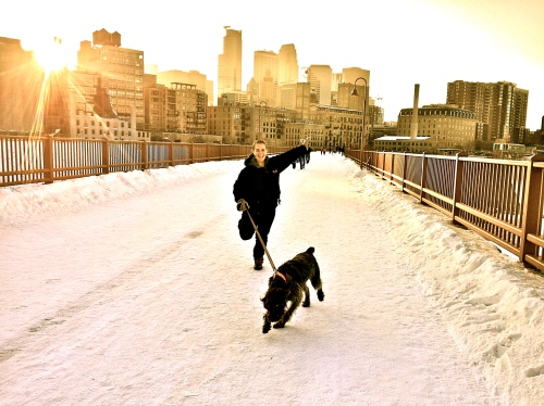 Katie Vogel and Rookie on Stone Arch Bridge, Minneapolis
